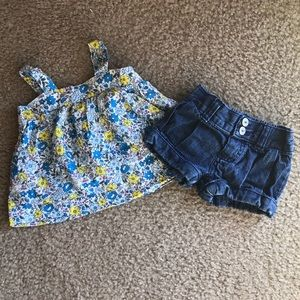 Oshkosh B'gosh Baby Girls denim shorts & tank 6M